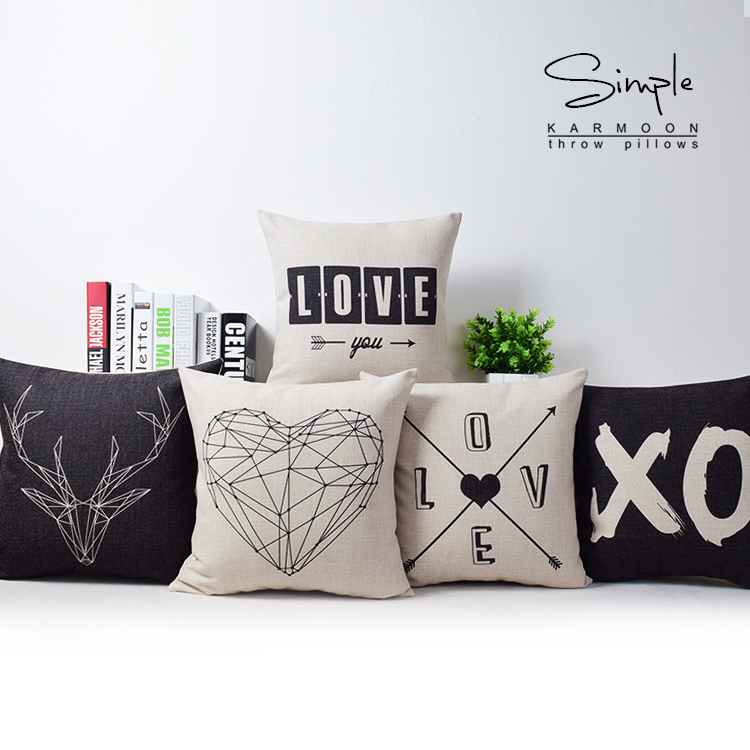 Geometry pillow cover Creative Black white minimalist geometric LOVE couple ikea throw pillow cushion cover pillowcase Wholesale