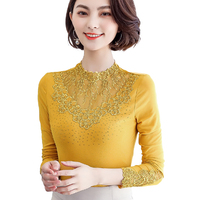 Elegant Lace Blouse Women Stand Collar Hollow Out Casual Long Sleeve Shirt Top Blusa Feminina Plus Size 4XL