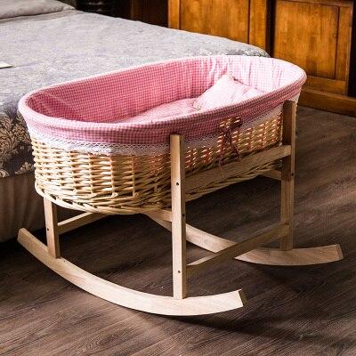 Cuna bebé ola niños bebé cesta de la caña constituye madera maciza ...