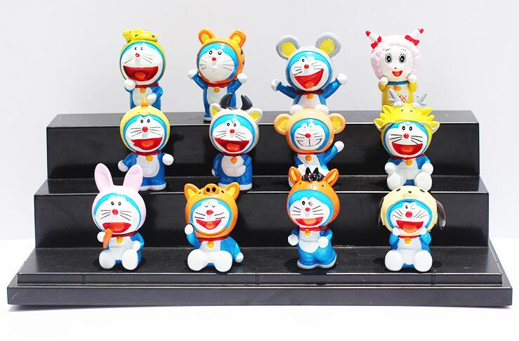 Anime Cartoon Doraemon 12 Chinese zodiac PVC Action Figures Toys Dolls 12pcs set