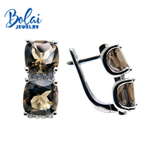 Bolaijewelry,925 silver fine jewlery with earrings natural green agate and smoky quartz gemstone girl of choice Christmas gift hutang novelty natural color smoky quartz