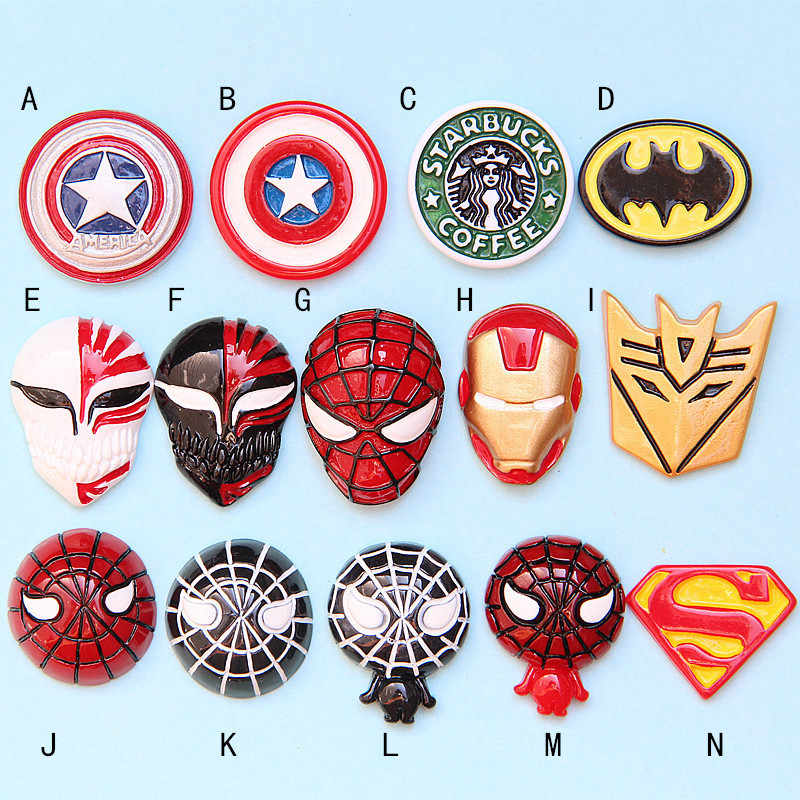 10Pcs/lot Flat Back Resin Cabochon Cartoon Anime Super Hero Logo DIY Decorative Craft Embellishment Flatback Cabochons For Bows
