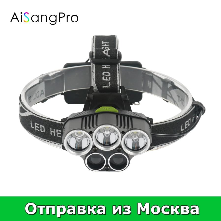 Aisangpro фара фонарик с 18650 Перезаряжаемые Батарея Рыбалка фары XML T6 Охота фар Светодиодные фонари факел