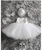Blanco boda del florista del bautizo del bautismo del vestido del desfile con perlas niña princesa vestido para 2-12 Y
