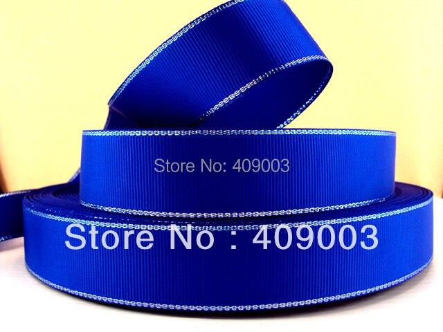 50Y4534 kerryribbon diy 25mm double face silver blue line ribbon Grosgrain ribbon ...