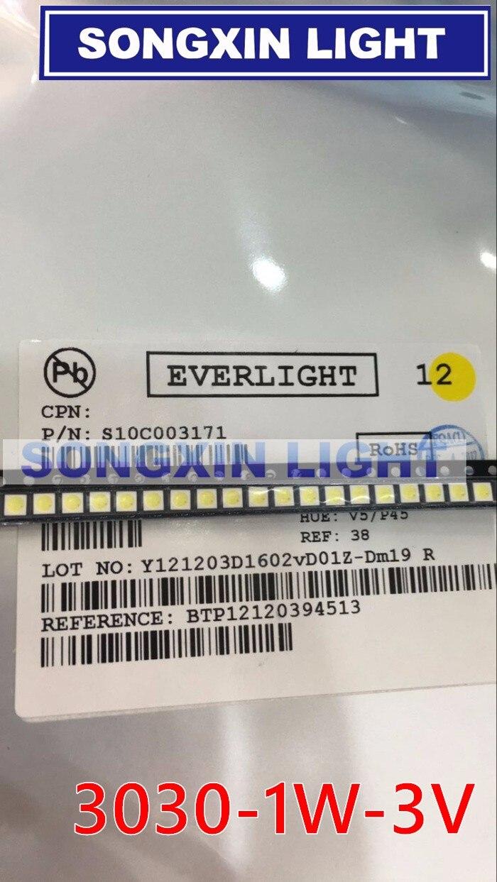 2000pcs EVERLIGHT LED Backlight 1W 3030 3V Cool white 80 90LM TV Application with zener 350MA