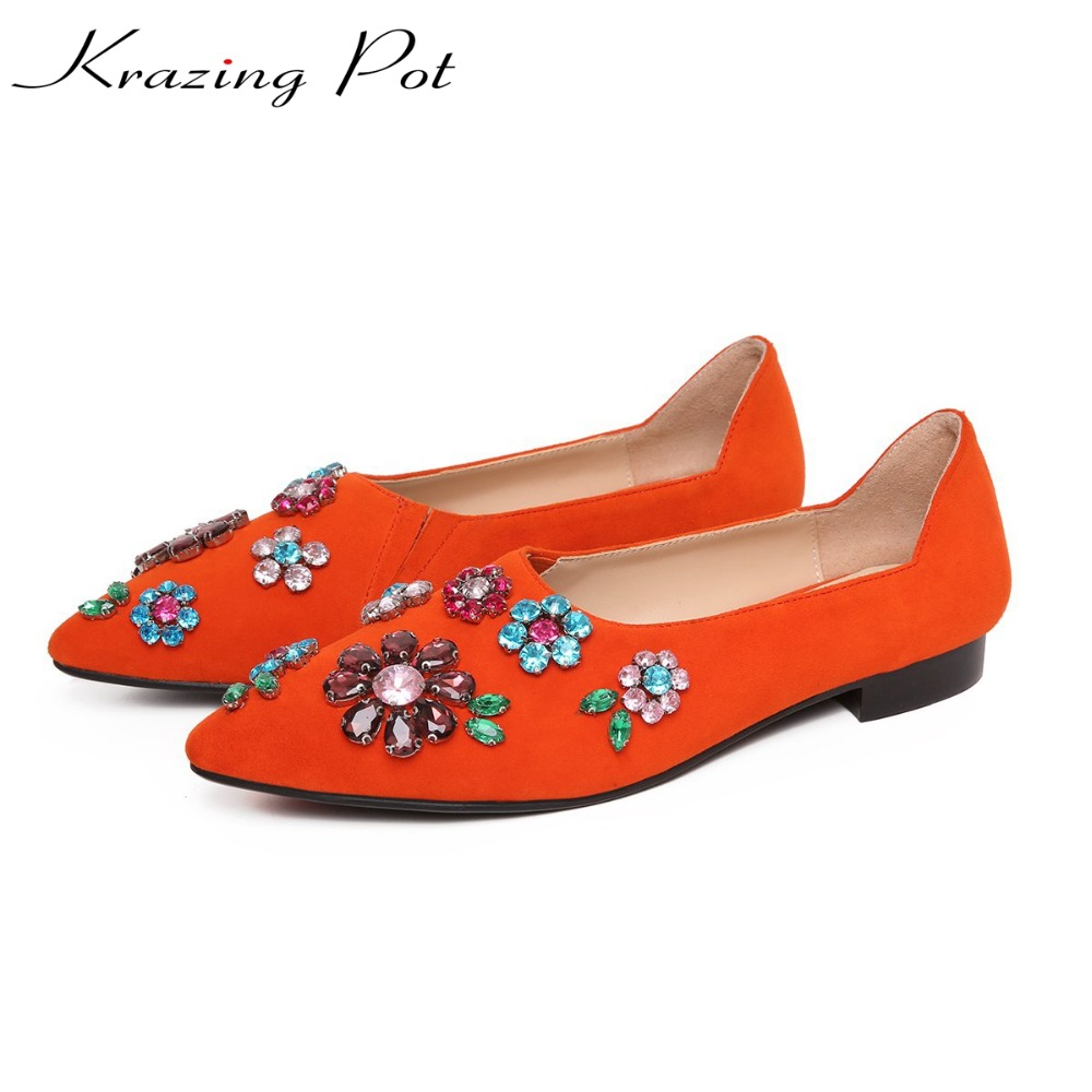 Krazing Pot Autumn Winter fashion brand shoes sheep suede flowers crystal diamond slip on round toe low heels luxury shoes L64