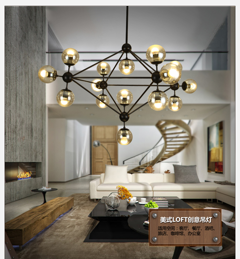 5101521 Head Dining Room Decoration LED Modo Chandelier Living DNA Lights Glass Globe Light AC90 265V Free Shipping