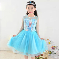 2016 Summer Baby Girl Dress Princess Vestidos Fever 2 Anna Elsa Dress Birthday Party Dress Children