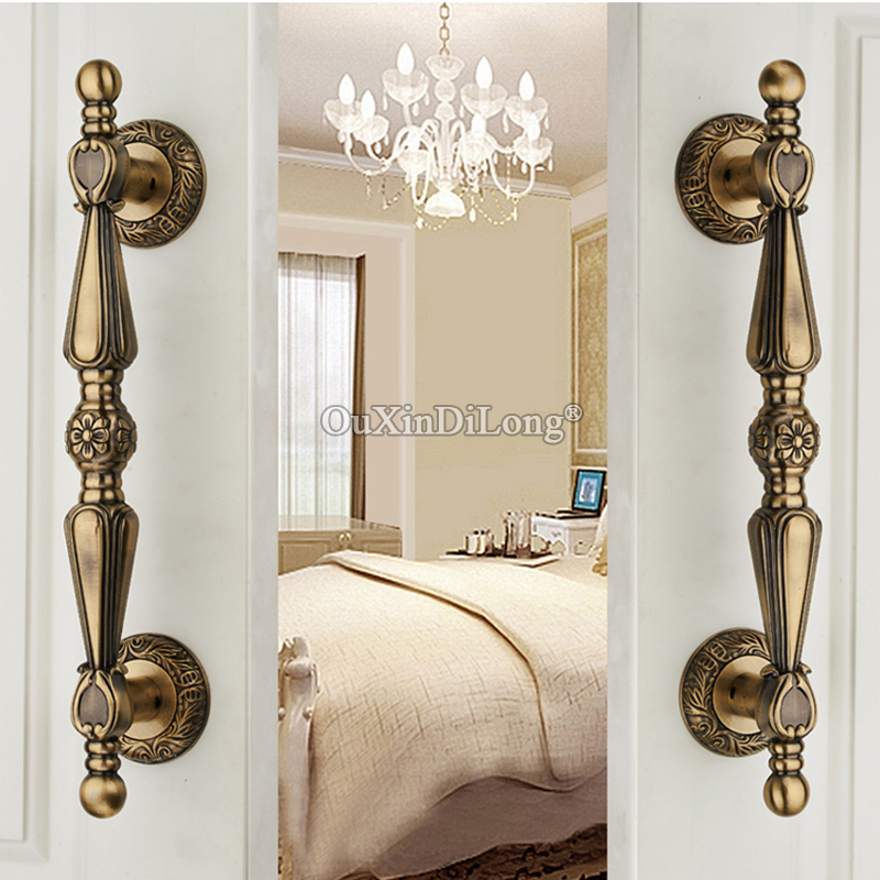 Retro 1Pair=2PCS European Antique Door Handles Villa Archaize Wooden Door Glass Door Handles Sliding Door Handle Pulls Hardware 550mm high quality clear crystal glass big gate door handles stainless steel big gate door handle pulls wooden door pulls