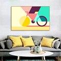 Настенные картины для гостиной абстрактный холст искусство геометрический велосипед плакаты и принты Геометрия креативный скандинавский ...