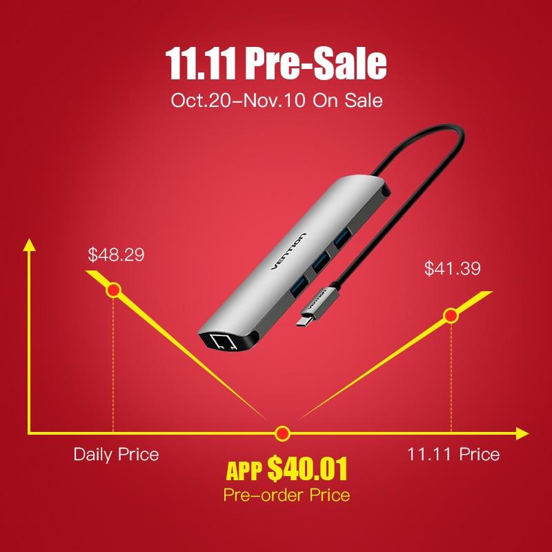 Intervento USB-C HUB Tipo C HUB USB 3.0 Thunderbolt 3 HDMI 3.5mm Audio RJ45 Gigabit Ethernet Adattatore SD /lettore di Schede di TF USB C HUB