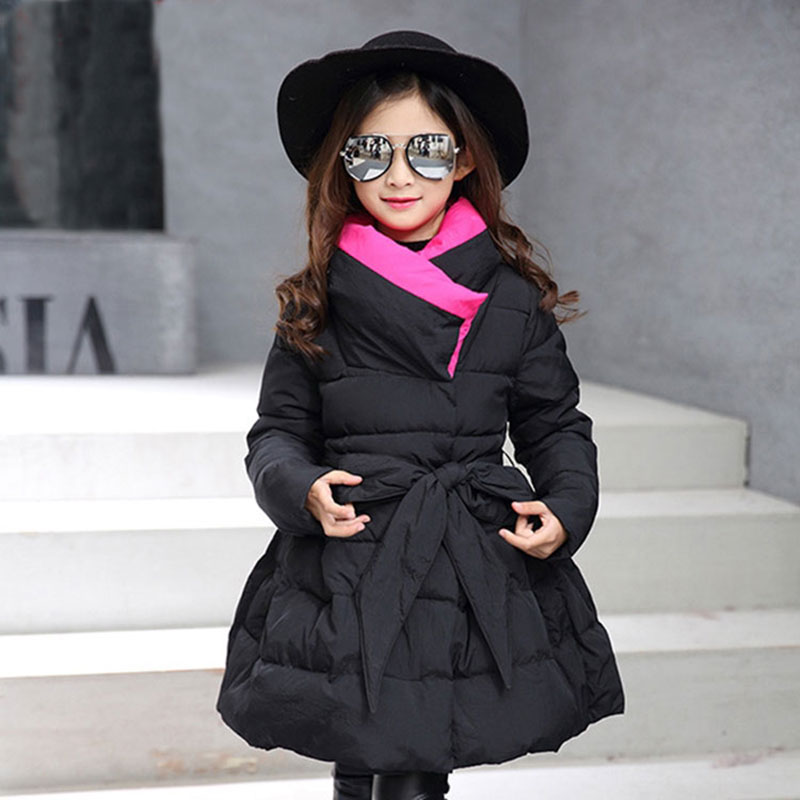 все цены на 2017 Autumn Winter Cotton Jacket Korea Version Child Girls Coats Fashion Warm Outerwear Overalls for Kids Baby Girl Jacket 4-13T