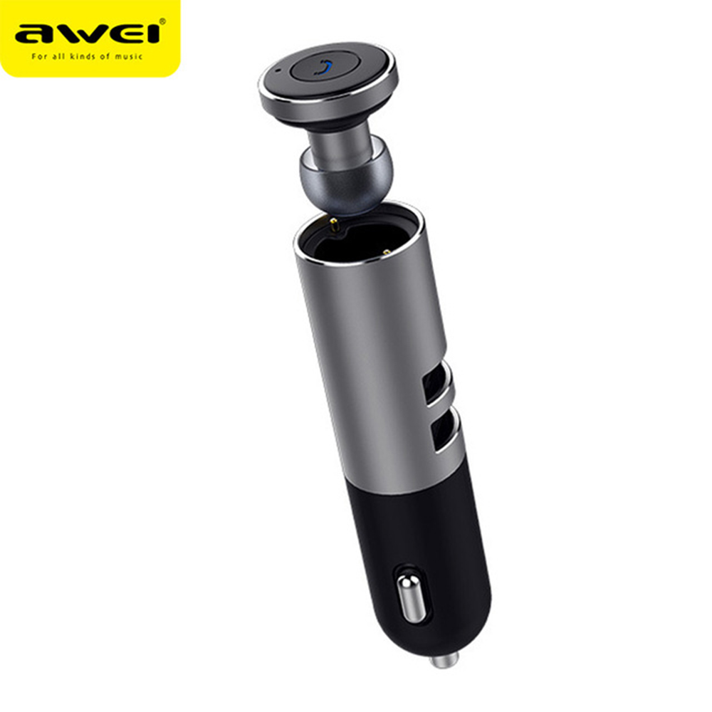 AWEI A870BL Mini Bluetooth Earphones Car Phone Charger Wireless Headphones Headset Earpiece Fone de ouvido Auriculares Kulaklik awei a870bl multi function bluetooth v4 1 hands free call headset dual usb car charger earphones for android ios smartphone