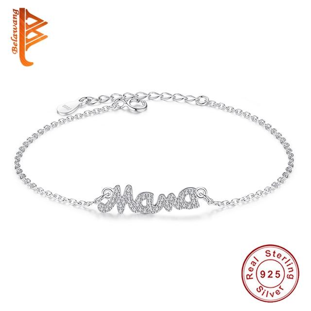 Christmas Brand Jewelry Austrian Crystal Mother Bracelet 925 Sterling Silver Link Chain Bracelets Mama Charm