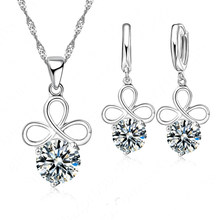 Big Discount 925 Sterling Silver Cubic Zirconia Jewelry Set Flower Pendant Necklace Earrings Set for Women Free Shipping(China)