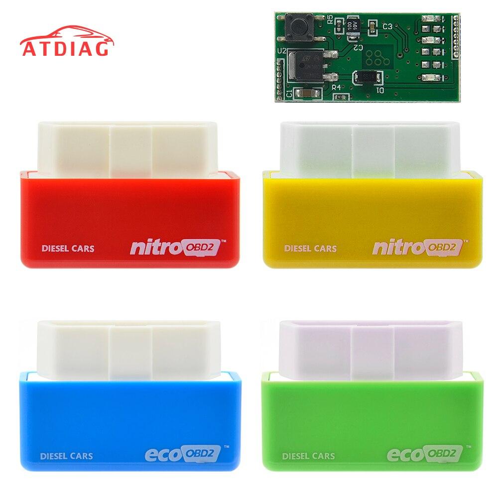 NitroOBD2 Full Chip Tuning BoxGreen EcoOBD2 Economy Chip Tuning Box OBD Car Fuel Saver Eco OBD2 For Benzine Cars Fuel Saving 15%