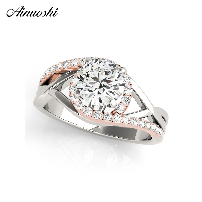 Ainuoshi Luxury 925 Sterling Silver Women Wedding Ring Sets White Gold Rose Gold Color Round Cut Lover Rings Aniversary Jewelry Aliexpress