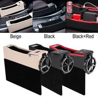 PU Leather Car Seat Crevice Storage Box Organizer Bag Cup Drink Phone Holder USB Charging Coin Case Car Accessories