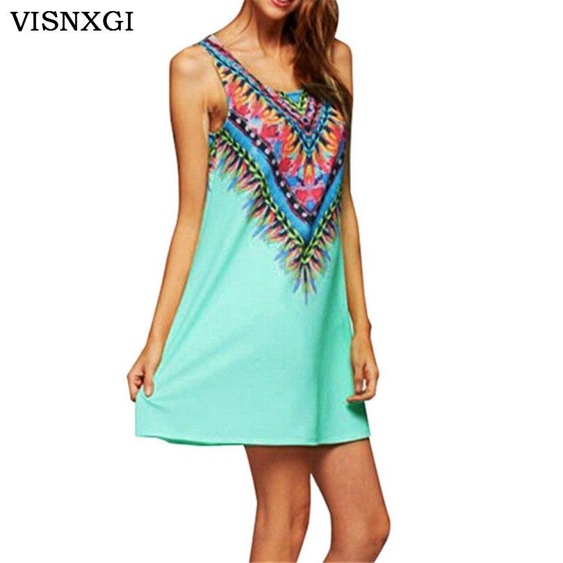 2019 Summer Dresses Hippie Boho India Loose Tank Sleeveless Ethnic Print Mini Dress Hippies Vintage Beach Wear Vestidos K102