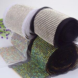 1 yarda/rollo de apliques de diamantes de imitación, 24 filas de adornos de cristal, decoración de boda, embalaje brillante, accesorios de bricolaje, ropa para coser