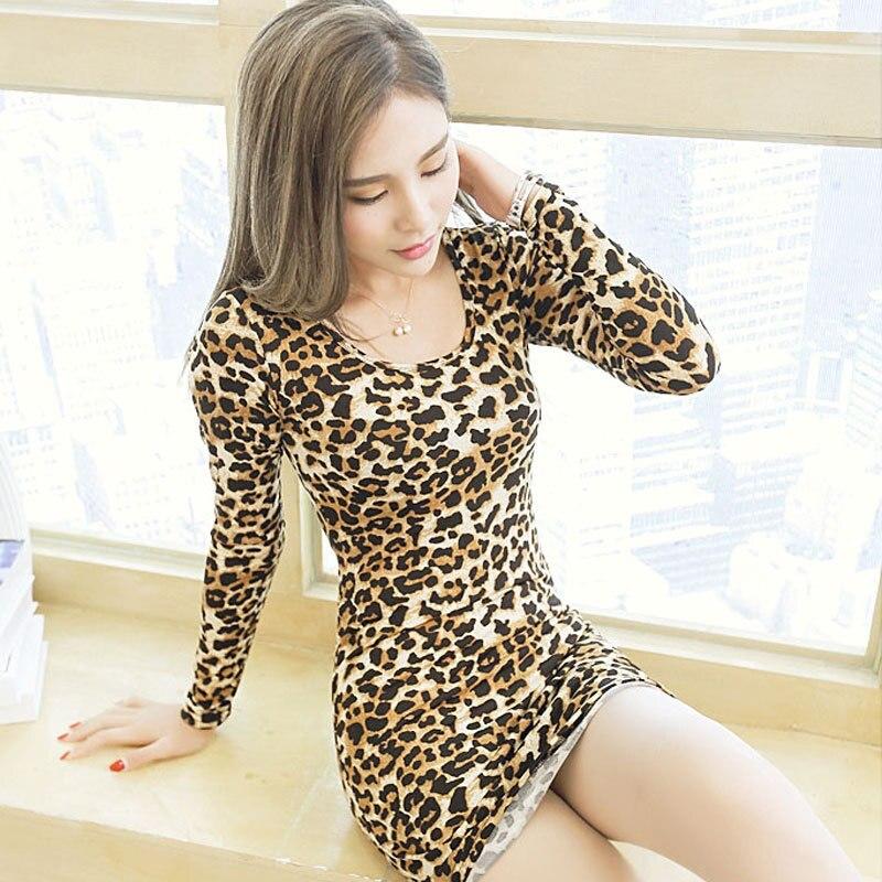 New style sexy leopard print dress, warm cotton body, round neck, long sleeved bag butt doggerel dress