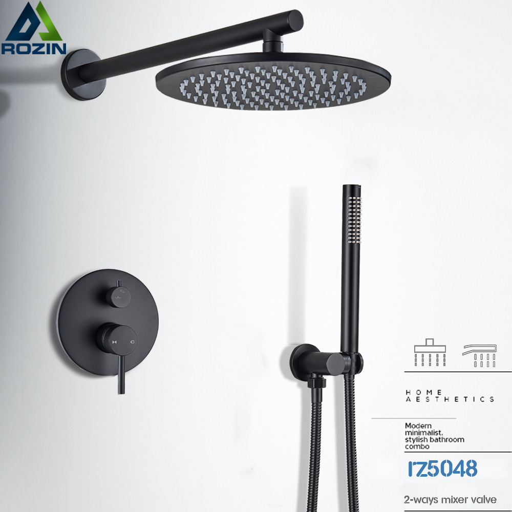 Matte Black Shower Faucet Brass Rainfall Concealed Shower Mixer Tap In-wall 8/10/12/16