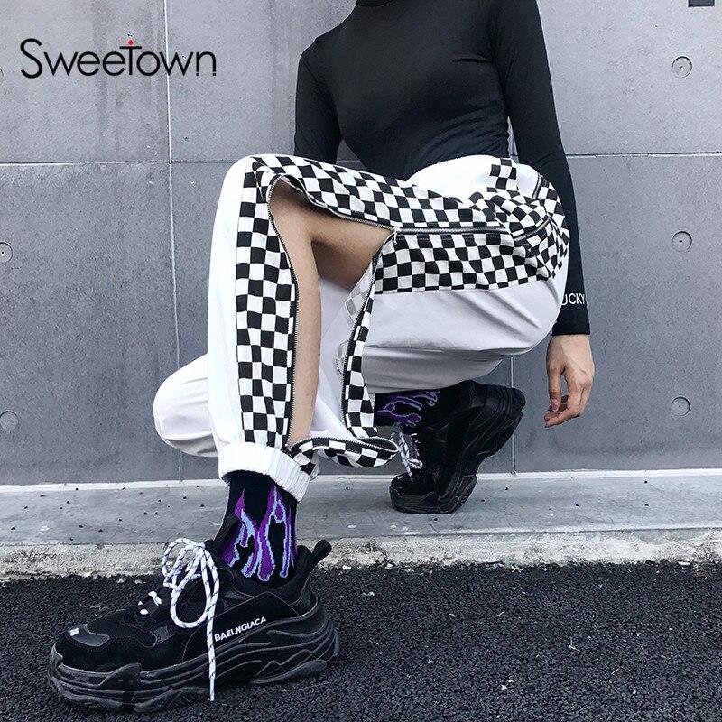 Sweetown Patchwork Plaid Streetwear Pants Women Checkerboard Zipper Open Joggers Sweatpants Summer 2019 Woven High Waist Pants