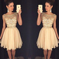 Sexy Gold Jewel Neck Crystal Beading Cocktail Dress Knee Length 2016