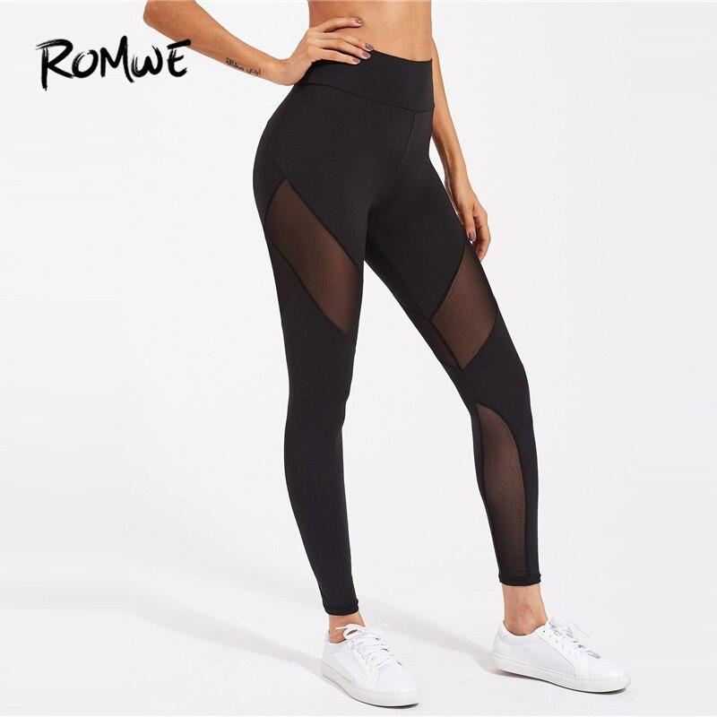 ROMWE Active Mesh Panel Zip Detail   Leggings   2019 Casual Black Contrast Mesh Fitness   Leggings   Capris Sexy Sportswear   Leggings