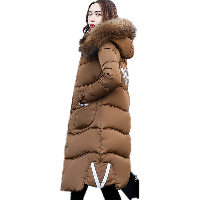 Womens Cotton Padded Thickening Winter Fur Collar Parka Mujer Casual Letter Print Loose Plus Size Winter Coat Jacket 3XL TT2836 plus size letter print hooded sweatshirt dress