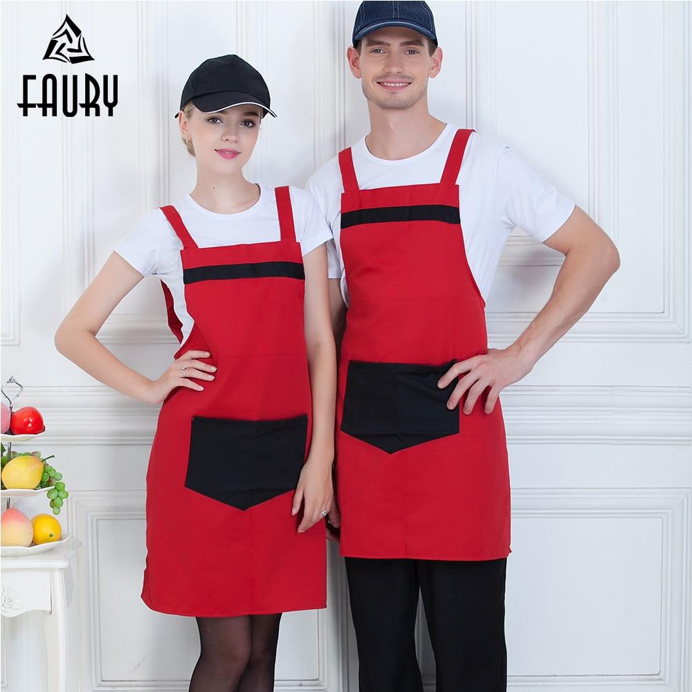 High Quality Wholesale Big Pocket Apron Unisex Food Service Kitchen Hotel Coffee Shop Bakery Chef Waiter Cleaning Work Uniform