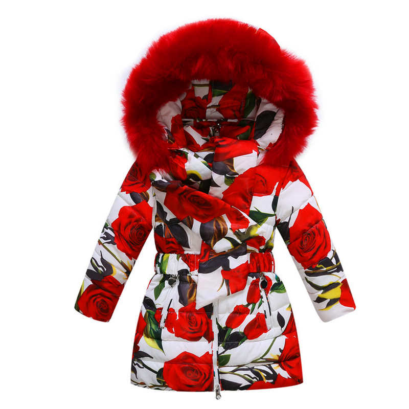 ФОТО Children's winter jackets thick warm long white duck down jacket girl rose print fur hooded Outerwear&Coats girls winter jacket