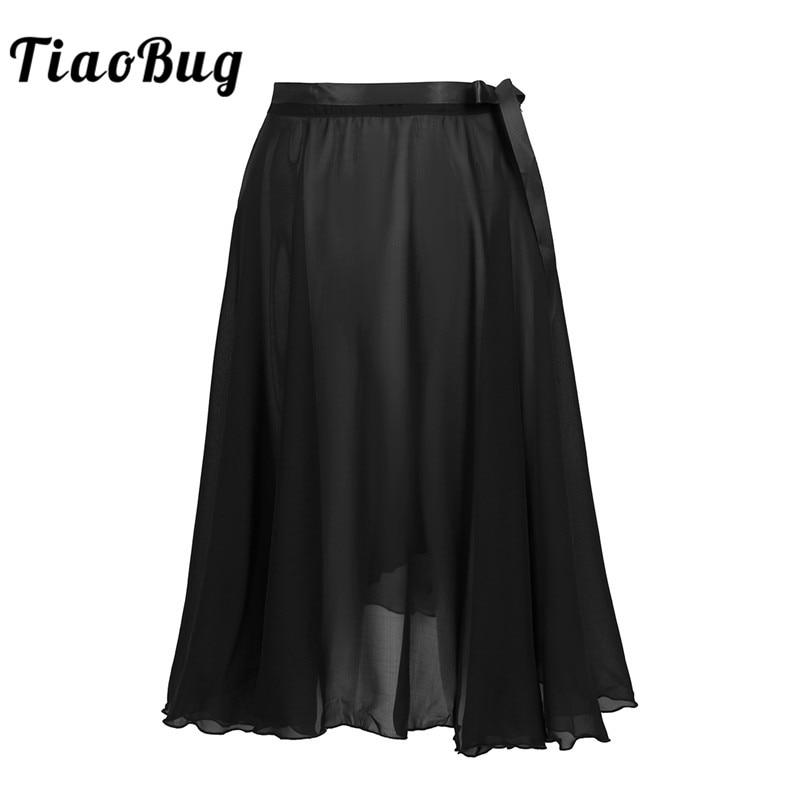 TiaoBug Women Sheer Chiffon Dance Wrap Skirt With Waist Tie Professional Ballet Tutu Adult Gymnastics Skating Practice Dancewear