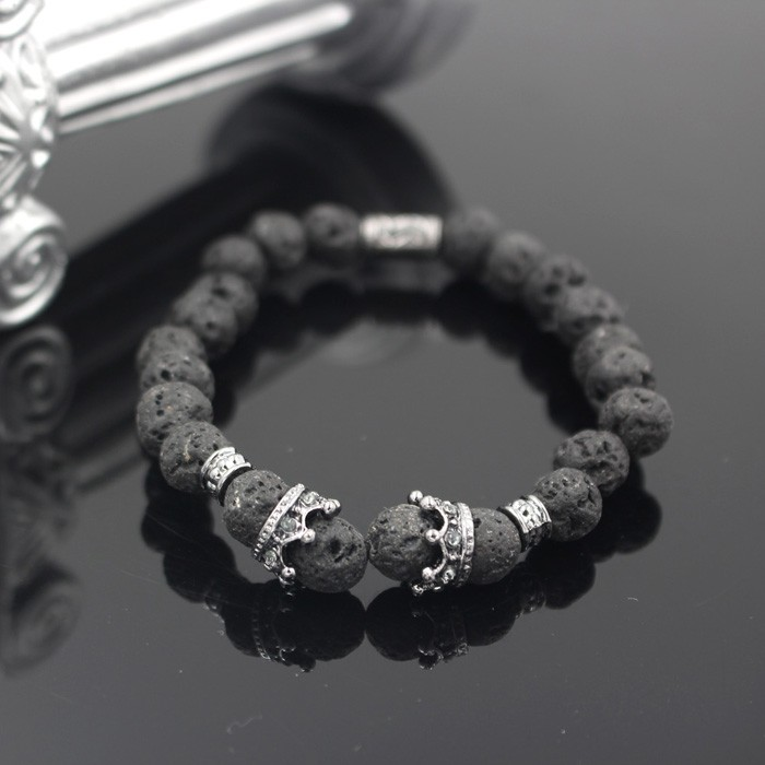 silver-imperial-crown-with-natural-lava-stone-black-bracelet-2