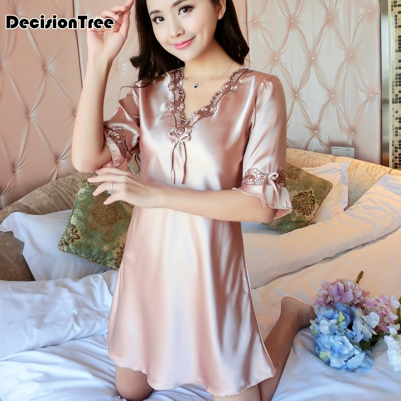 2019 new silk lace women sleepwear ladies sexy lingerie sleepdress babydoll nightdress   nightgown     sleepshirts   homewear