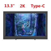 13.3Portable Computer Monitor 2K HD 2560x1440 IPS PS3 PS4 Xbox360 Type C USB C Mini HDMI Display Monitor for Raspberry Pi 3B 2
