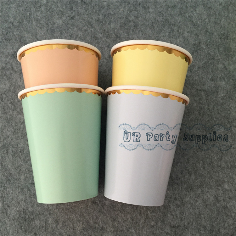 120pcs Pastel Paper <font><b>Cups</b></font> Foil Gold with Solid Light Blue Pink <font><b>Yellow</b></font> Mint Ice Cream <font><b>Party</b></font> Snack Cany <font><b>Cups</b></font> <font><b>Party</b></font> Drinking Decor