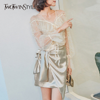 TWOTWINSTYLE Print Skirt Suits Female Tulle Lantern Sleeve Shirt With Spaghetti Strap Top Lace Up High