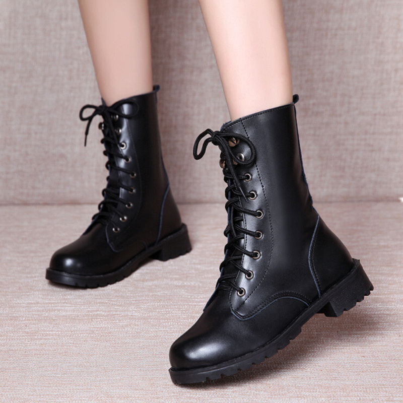 2018 Rain Boots Waterproof Shoes Woman Water Rubber Lace Up Martin Ankle Boots Sewing Solid Flat With Shoes  Size 42