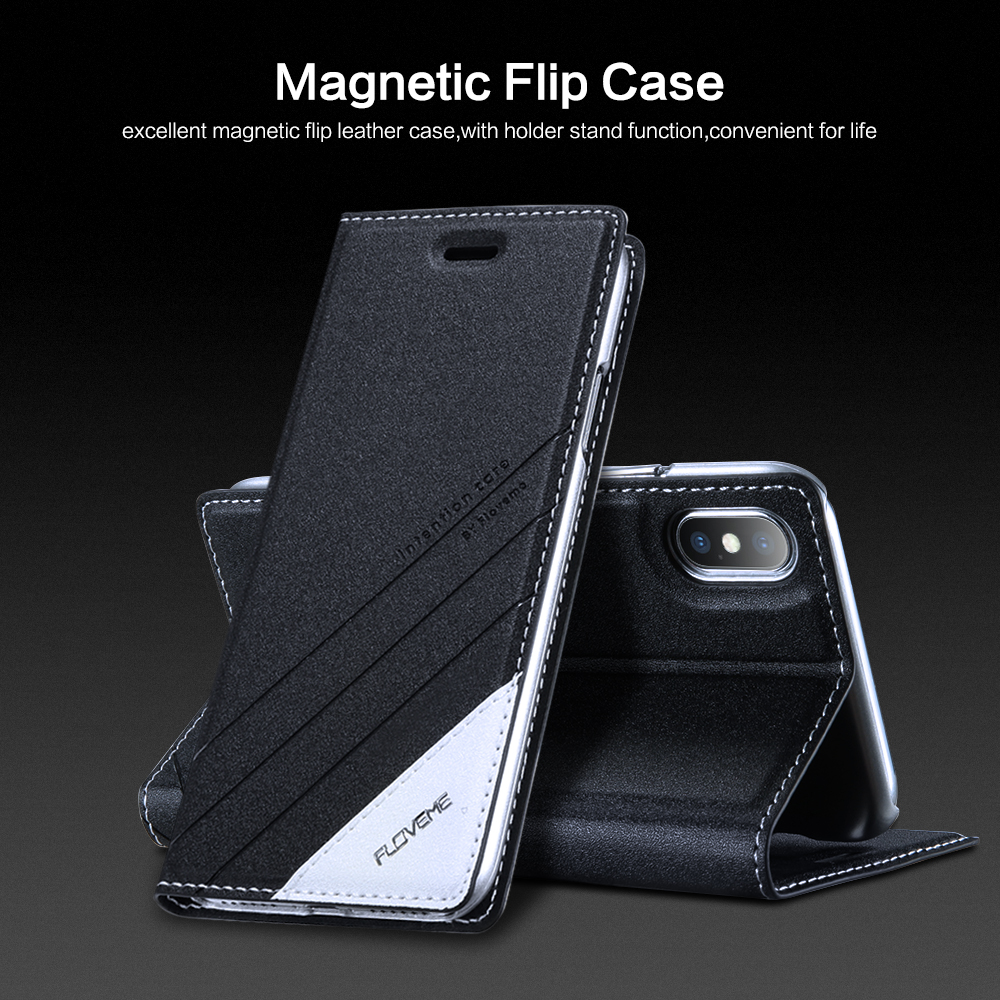 FLOVEME Luxury For iPhone 7 X Case Flip Leather Phone Cases For iPhone X 6 6S iPhone 8 7 plus 5S 5 SE Wallet Holster Case