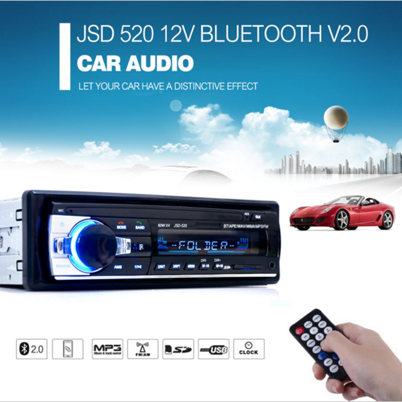 New Registered Car Radio 12V Bluetooth V2.0 Car Audio Stereo In-dash 1 Din FM Aux Input Receiver SD USB MP3 WMA Car Radio Player