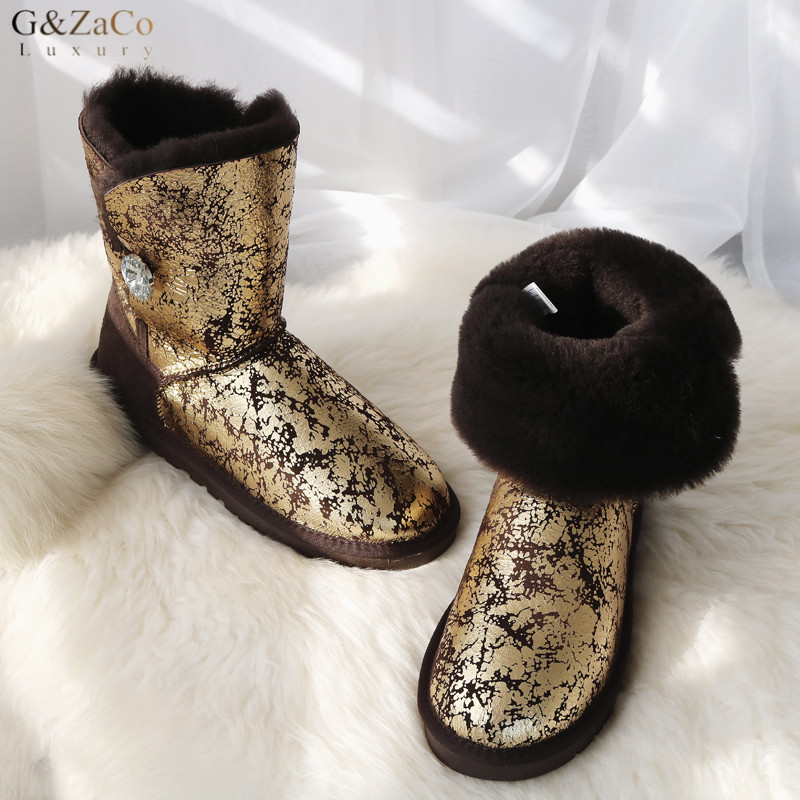 G&Zaco Luxury Women Natural Sheepskin Snow Boots Female Real Sheep Fur Crystal Button Mid Calf Boots Warm Flats Wool Shoes fashion hot winter hand embroidery flowers women snow mid calf boots sheep wool high qualit flats street style beauty boots 26