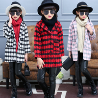 New autumn winter teenage girls outwear plaid woolen jacket coat for girl trench coat kids children outwear tops girls clothes