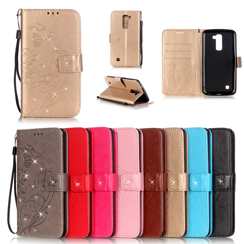 Bling Wallet Leather Case Butterfly Coque Cover for <font><b>LG</b></font> <font><b>Leon</b></font> <font><b>4G</b></font> <font><b>LTE</b></font> C40 H324 H340 H320 C50 4.5'' Capa <font><b>Fundas</b></font> With Card Slot image