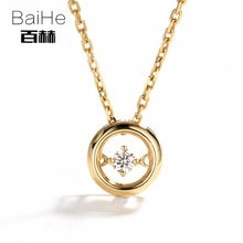 BAIHE Solid 14K Yellow Gold 0.05ct Certified H/SI Genuine Natural Diamond Women Trendy Fine Jewelry Elegant unique Necklaces