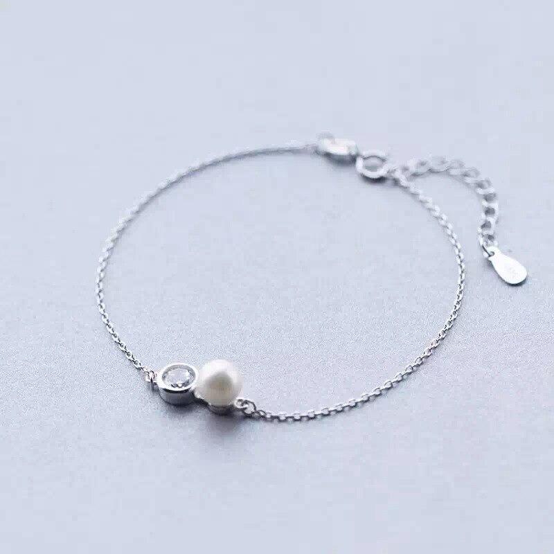 1 Stück 925 Sterling Silber Süßwasser-zucht Runde Perle & Cz Weiß Glück Rolo Kette Armband Slim Einstellbar Ls209 Moderne Techniken