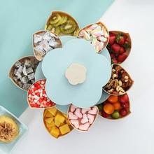 Двухслойная лепесток вращающийся фрукты контейнер Еда семена дыни закуски орех, конфета хранения Коробки пластиковая Фруктовая тарелка Кухня Органайзер