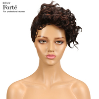 Remy Forte Human Hair Wigs 100% Remy Brazilian Hair Weave Wig Short Curly wig 1B 30 Colored Refreshing Cheap Human Hair Wigs