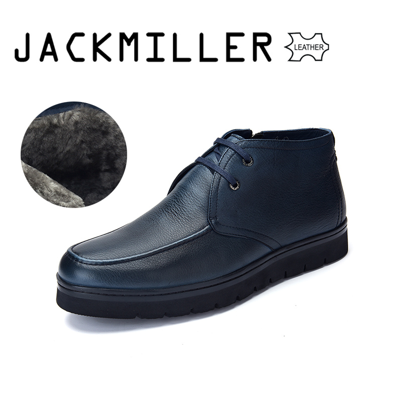 Jackmiller Top Brand Men s Leather Boots Navy Lace Up Side Zipper Thick Sole Wool Lining